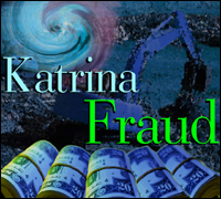 "Rolled currency with construction equipment and words, ""Katrina Fraud"""