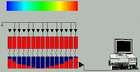 Enlarged image of Figure 6. The basic operation of an integrating CCD is animated at the Ocean Optics Web site: www.oceanoptics.com/CCD_operation.asp