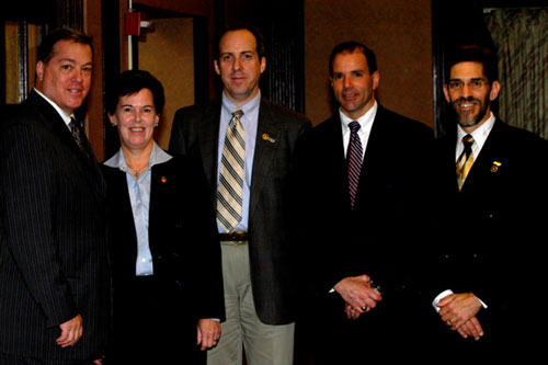 From left to right: Joseph Concannon, President and CEO of the New York Metro InfraGard Member Alliance; Janice K. Fedarcyk, Assistant Director in Charge of the FBI's New York Field Office; John J. Tierney, Vice President of the New York Metro InfraGard Member Alliance; Supervisory Special Agent Michael Rosanova, Health Care Fraud; and Phil Froehlich, Secretary of the New York Metro InfraGard Member Alliance