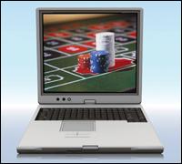 computer screen showing gambling chips