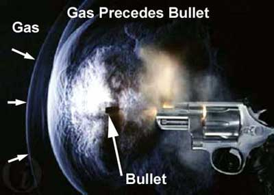 Figure 16 is a representation of a gas bubble that precedes a bullet when it is discharged.