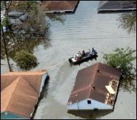 Flooded street after Hurricane Katrina