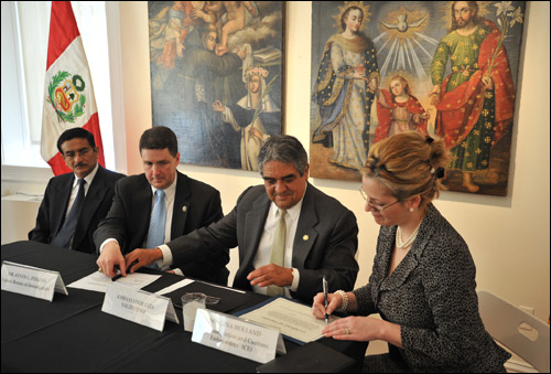 At the ceremony at the Peruvian Embassy were (from left) Juan Jose Sanchez, general of the National Police of Peru and security advisor to the embassy; FBI Assistant Director Kevin Perkins; Peruvian Ambassador to the U.S. Luis Miguel Valdivieso; and Deputy Assistant Director Gina Holland, Office of International Affairs, U.S. Immigration and Customs Enforcement, Department of Homeland Security.