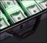 Briefcase with bricks of cash