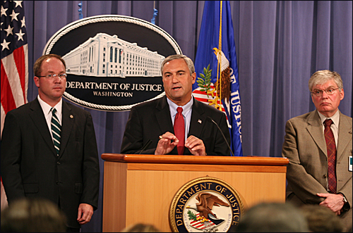 Joseph Persichini (center), Assistant Director in Charge of the FBI's Washington Field Office, with U.S. Attorney Jeff Taylor (left), District of Columbia, and Chief Postal Inspector Alexander Lazaroff of the U.S. Postal Service, explains recent developments in the government's Amerithrax case.
