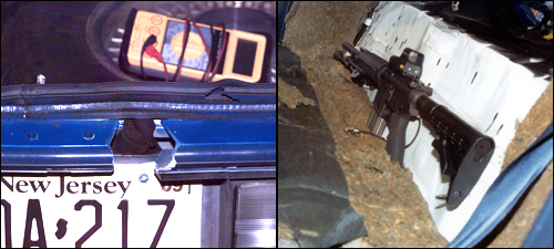The trunk of the snipers' car with a hole cut above the license plate (left); the backseat with the snipers' rifle (right)
