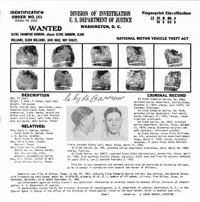 Identification Order of Clyde Barrow, October 24, 1933