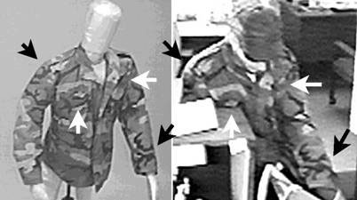 Figure 3 illustrates a demonstrative exhibit from a clothing comparison examination in which ACE-V was used to individualize the camouflage jacket as the same one in both images.