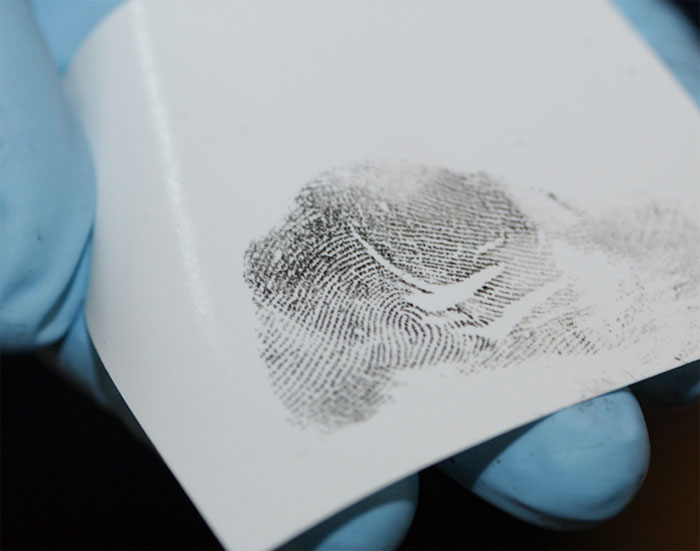 Figure 8 shows a fingerprint reviewed by the examiner to confirm that a clear and complete impression was recorded that is of suitable quality for comparison.