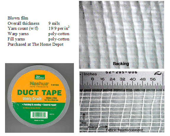 Figure 1 is a photograph of utility-grade duct tape, Nashua 300 (Tyco Adhesives).
