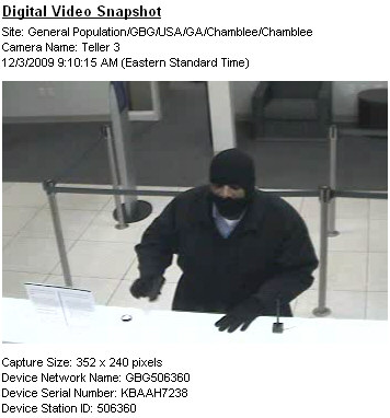 Atlanta Bank Robbery Suspect, Photo 7 of 7 (12/11/09)