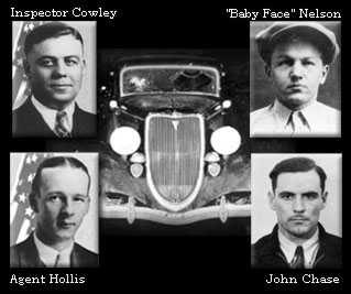 Car circa 1930s with inset photos of Nelson, Inspector Cowley, Agent Hollis, and John Chase