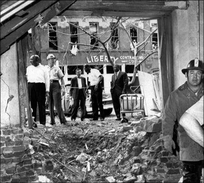 The crater and other damage caused by the bombing of the Sixteenth Street Baptist Church, which killed four African-American girls. AP Photo.