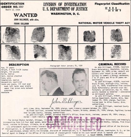 Identification Order No.1217 John Dillinger