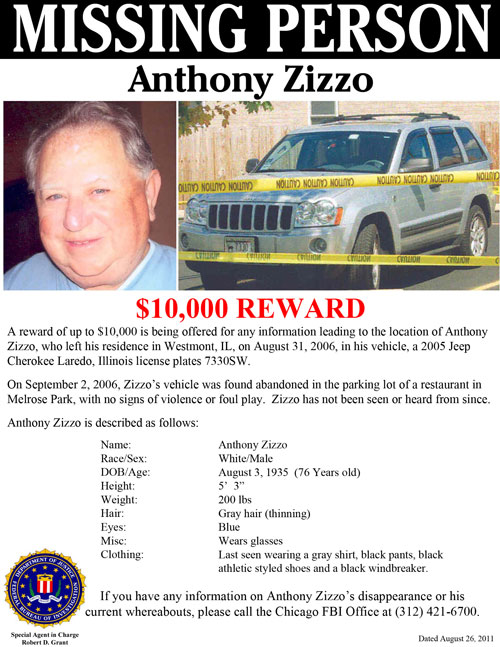 Mobster Anthony Zizzo Missing Person Poster (8/31/11)