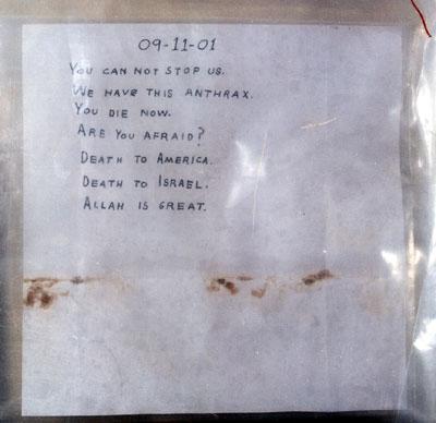 Amerithrax Investigaton: Letter of 09-11-01