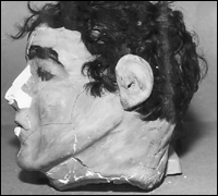 Side view of model head found in Frank Morris's cell.