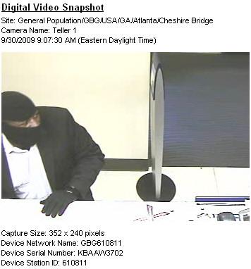 Atlanta Bank Robbery Suspect, Photo 1 of 7 (12/11/09)