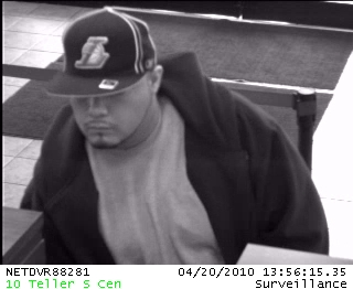 Villa Park Bank Robbery Suspect, Photo 2 of 2 (4/20/10)