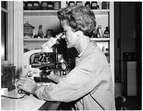 A historical photo of a Laboratory technician examining microscopic evidence in the Serology Unit, 