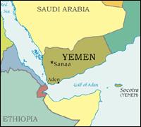 Map of Yemen with parts of Saudi Arabia and Ethiopia