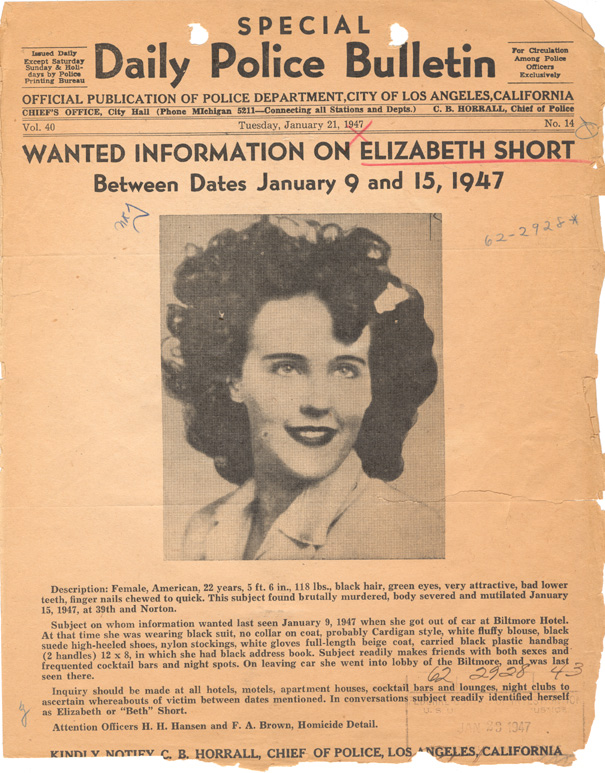 LAPD Bulletin on Elizabeth Short