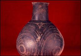 Info  Belcher Engraved Bottle  Caddo Nation engraved ceramic bottle with incised design, evidence of wear