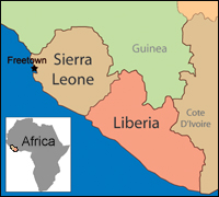 Map showing Sierra Leone and surrounding countries, with Africa inset