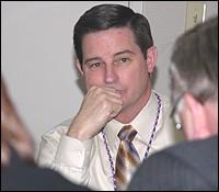 Lou Reigel at press conference