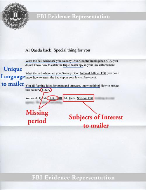 """Sample of white powder letter with the following text:""""Al Qaeda back! Special thing for youWhat the hell where are you, Scooby Doo, Counter Intelligence, CIA, you do not know how to catch the triple dealer spy in your law enforcement.When the hell where are you Scooby Doo, Internal Affairs, FBI, you don't know how to arrest the bad cop in your law enforcement.You all flaming idiot, ignorant and arrogant, know nothing! How to protect this country! U.S.AWe are Al Qaeda, U.B.L FBI, Al Qaeda, SS Nazi FBI,""""The sample letter also points out missing periods (after """"U.S.A"""" and """"U.B.L""""); subjects of interest to the mailer (al Qaeda, Nazi SS, FBI); and language unique to the mailer (""""What the hell where are you, Scooby Doo,"""" """"triple dealer spy,"""" and """"You all flaming idiot, ignorant and arrogant, know nothing"""")."""