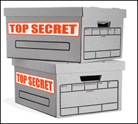 Boxes with Top Secret labels