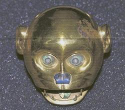 Gold Moche monkey head that was returned to the government of Peru in a repatriation ceremony at the Peruvian Embassy in Washington, D.C., on December 8, 2011.