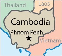 Map of Cambodia showing location of Phnom Penh