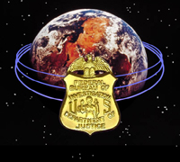 Globe with special agent badge