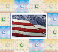 American flag with Arabic flag designs in background