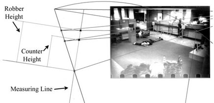 Figure 1 illustrates an example of a photogrammetric analysis conducted to determine the height of a subject depicted in a bank robbery surveillance photograph.