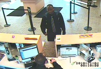 Edgewater Bank Robbery Suspect, Photo 2 of 4 (11/4/10)