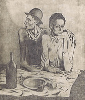 """Recovered Pablo Picasso Etching """"Le Repas Frugal"""""""