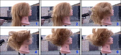 Figure 19 is a sequence of photographs showing the movement of a mannequin's loose, hanging hair as a bullet is fired through the hair.
