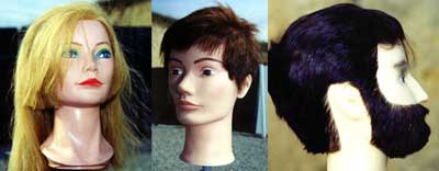 Figures 1-3: Life-Sized Mannequin Heads with Individually Embedded Human Hair Commonly Used by Sosmetologists