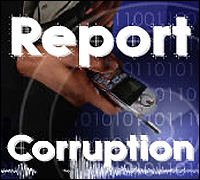 Report Corruption graphic with cell phone and code