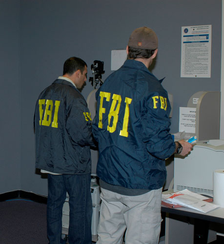 New York FBI agents work in the processing room