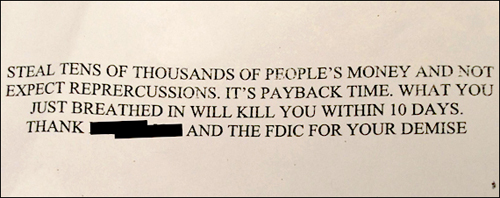 A photograph of one of the letters. More than 60 identical or similar letters were sent to three different financial institutions in at least 11 states.