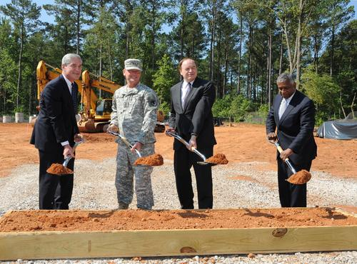 On June 25, 2012, the FBI and its partners participated in a groundbreaking ceremony for a new Terrorist Explosive Devices Analytical Center (TEDAC) Laboratory at Redstone Arsenal in Huntsville, Alabama. Pictured from left to right are FBI Director Robert S. Mueller, III; Redstone Arsenal commander Major General Lynn Collyar; U.S. Senator Richard Shelby; and Acting ATF Director B. Todd Jones.