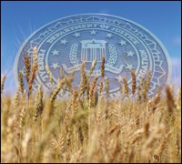 FBI seal over grain field