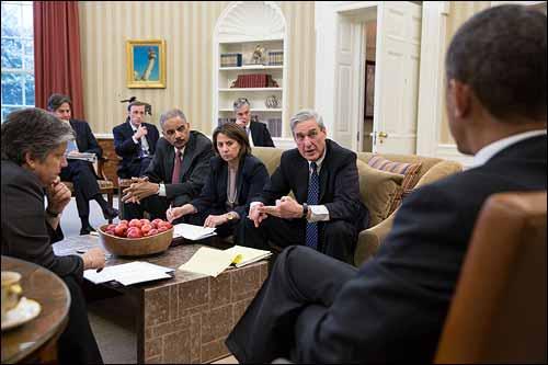 Director Mueller briefs President Obama