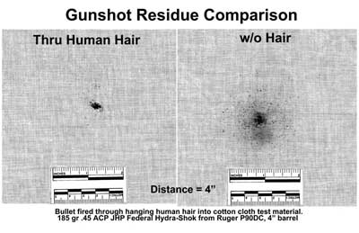 Figure 14 compares gunshot residue through hair and without hair.
