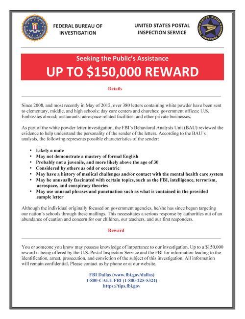 White Powder Letter Reward Flyer 05/16/12