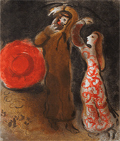 """Recovered Marc Chagall Etching """"The Meeting of Ruth & Boaz"""""""