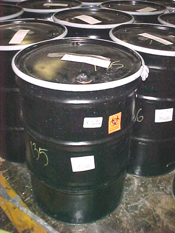 Amerithrax Investigation: Closeup of Barrels of Unopened Mail from Capitol Hill